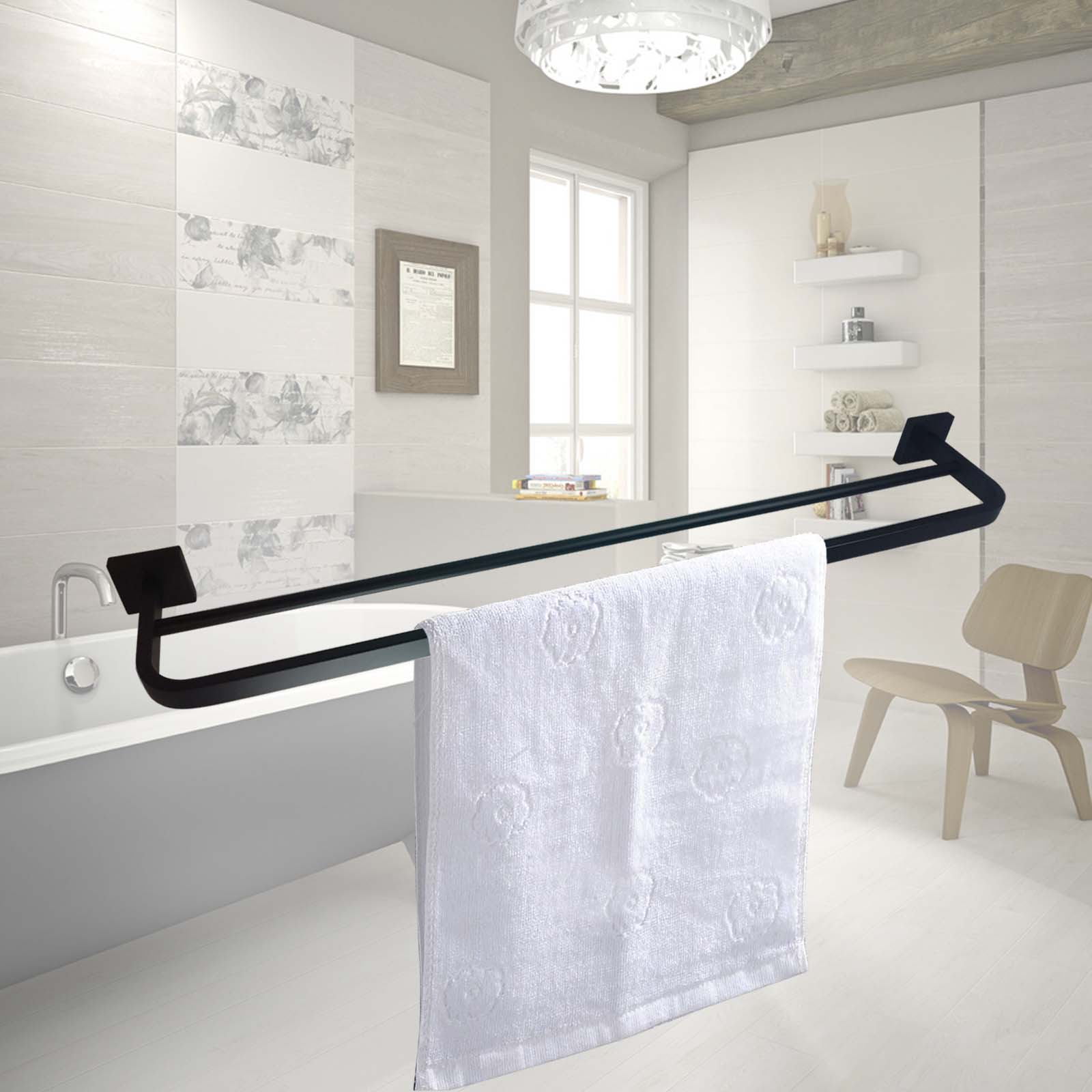 Double towel rack rail black stainless steel 304 wall for Double towel rails for bathrooms