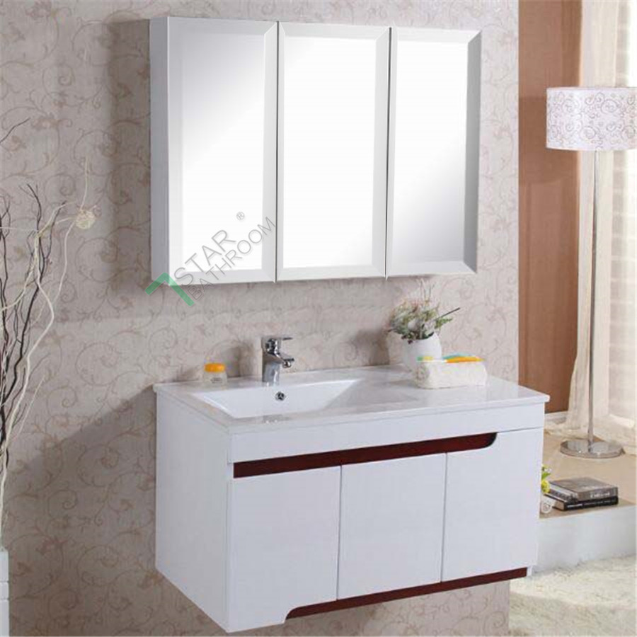 mirror cabinet 3 doors vanity shaving bathroom washroom white ebay
