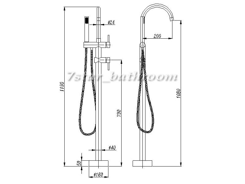 round freestanding floor bath filter spout mixer handheld shower diverter tap ebay. Black Bedroom Furniture Sets. Home Design Ideas