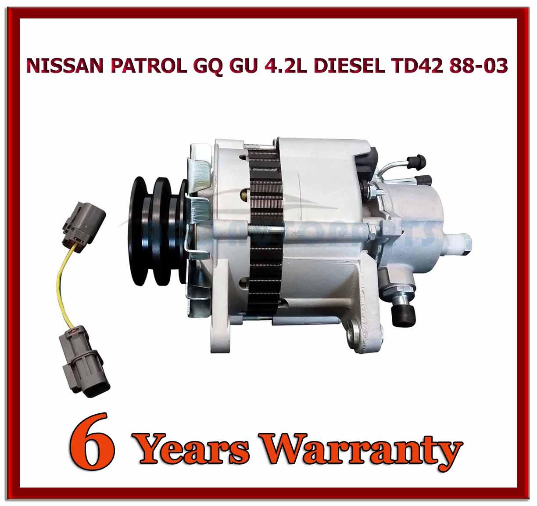 nissan patrol td42 alternator gq gu 4 2l diesel 1988 to 2003 80amp with pump ebay. Black Bedroom Furniture Sets. Home Design Ideas