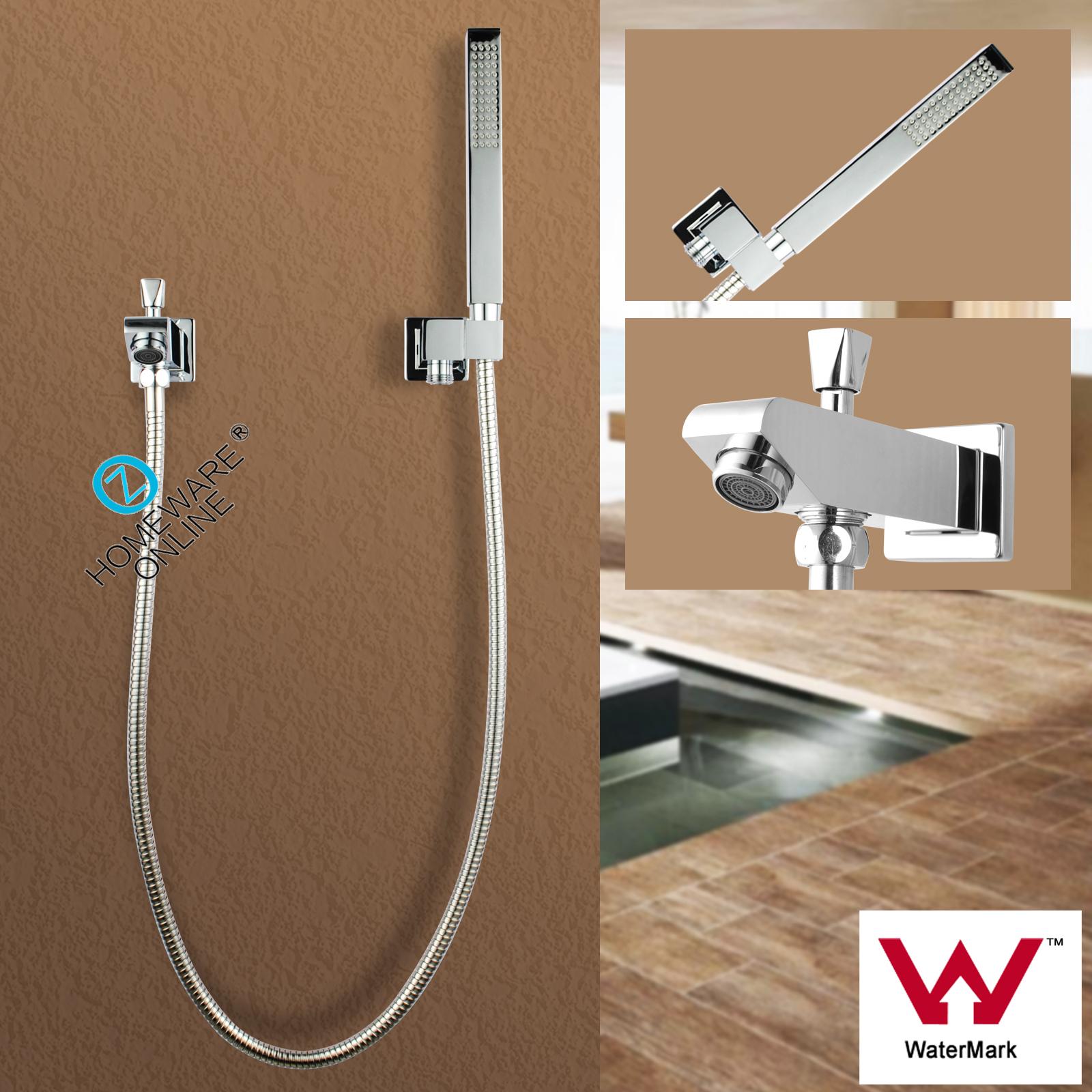 Bath Spout Diverter Tap Handheld Shower Head Cubic Spa Faucet Set Brass Chrom