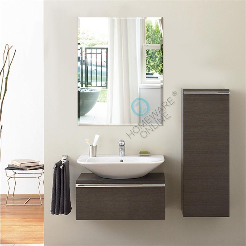 750x450mm frameless bathroom mirror bevel edge wall for Frameless rectangular bathroom mirror