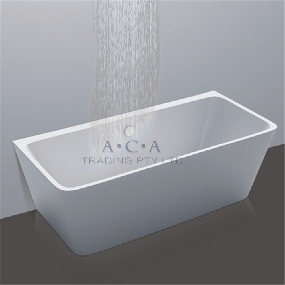 1500 X 750 X 580mm Freestanding Acrylic Bath Tub Back To Wall Faced Overflow