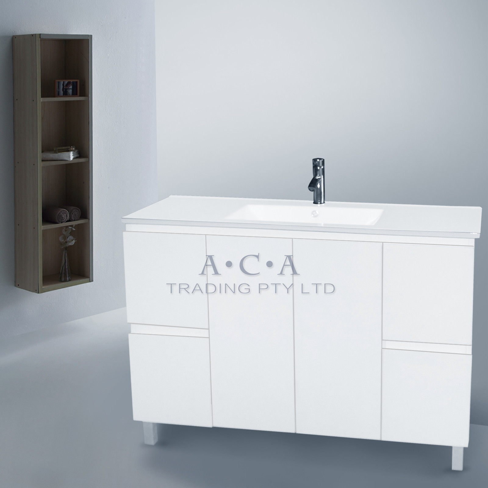 Bathroom vanity 1200mm freestanding cabinet white gloss 4 for Bathroom cabinets ebay australia