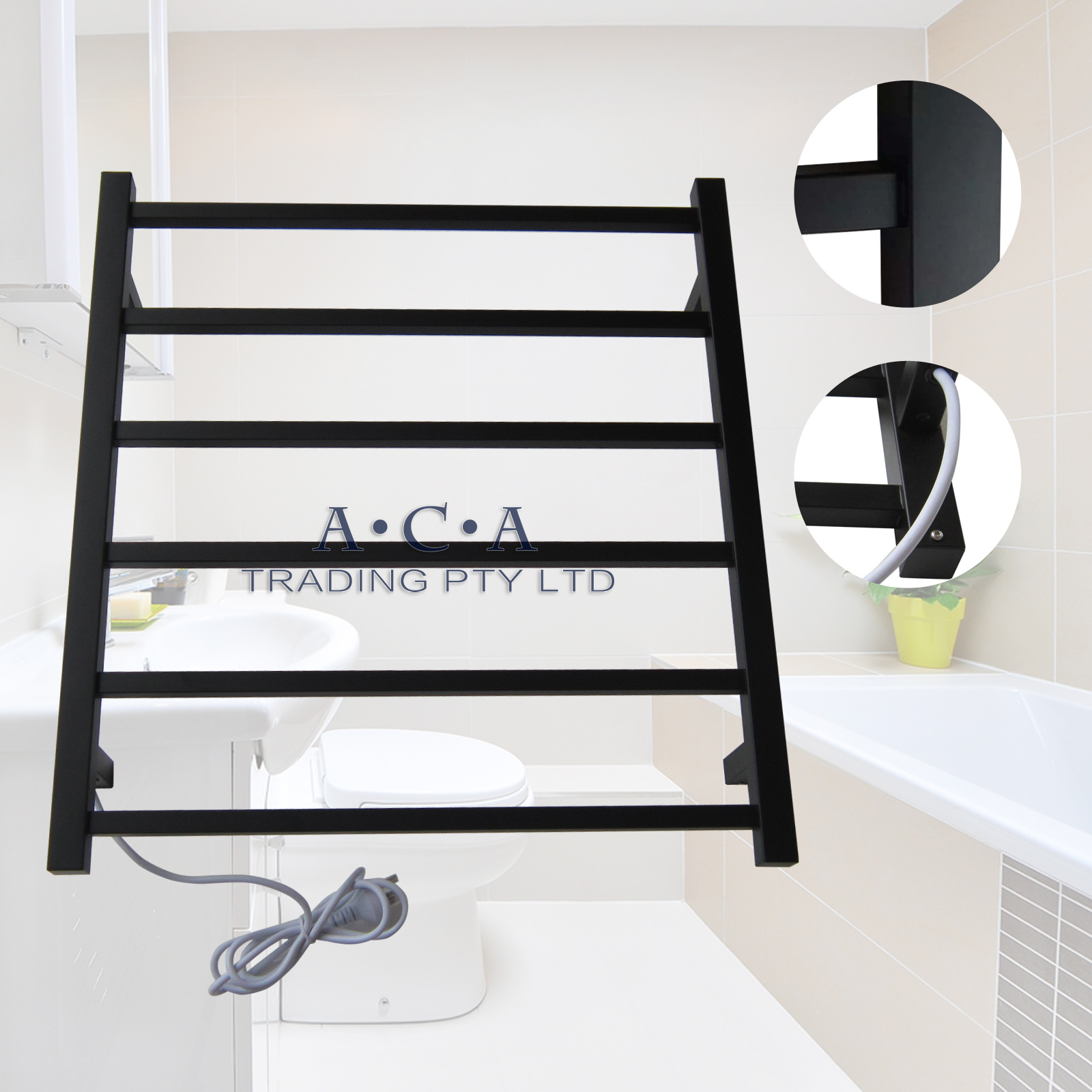 Black Electric Heated Towel Rack Rail Warmer Wall Mounted 6 Double Bars Squar