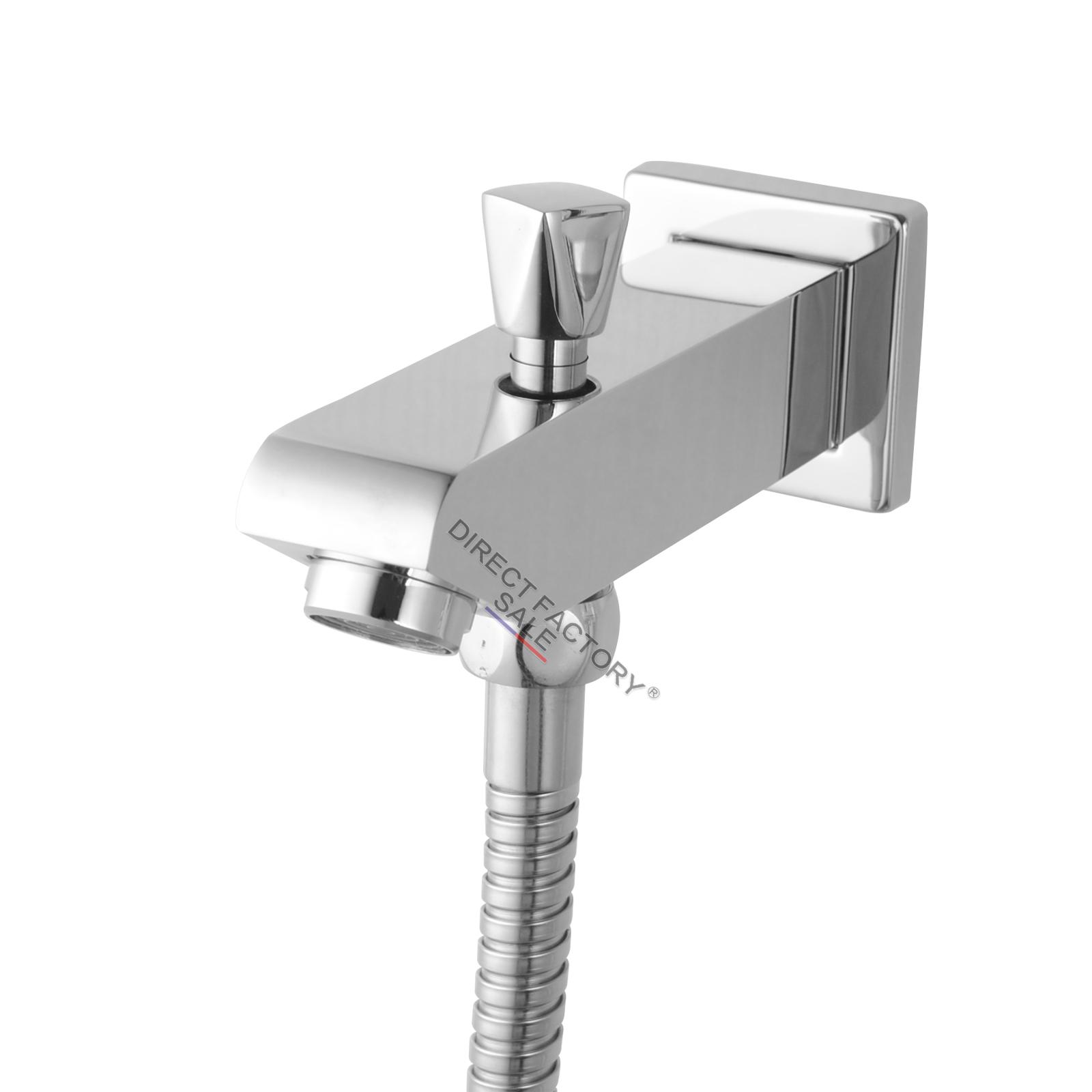 cubic chrome bath shower spout diverter w handheld shower spa chrome wall mount. Black Bedroom Furniture Sets. Home Design Ideas