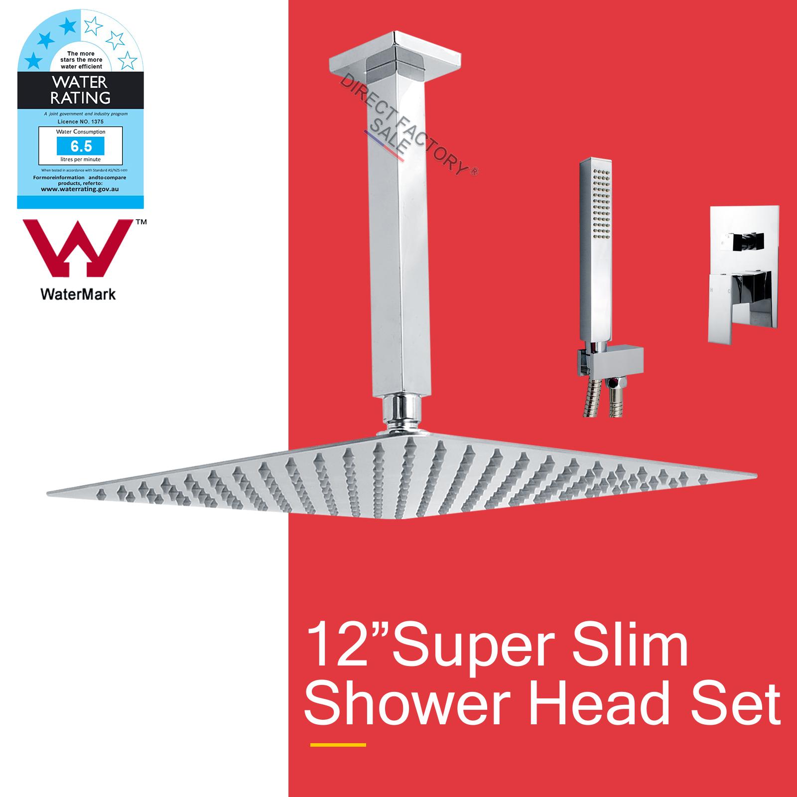 Slim 12 Shower Head Ceiling Mount 200mm Arm Square Handheld Mixer Ros