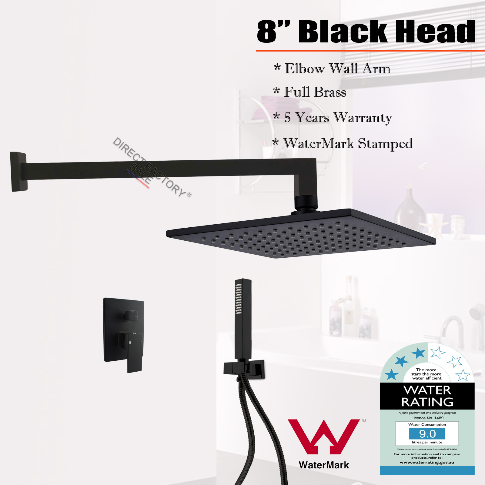 Bathroom 8 Shower Head Wall Mount Arm Black Handheld Mixer Diverter Ros
