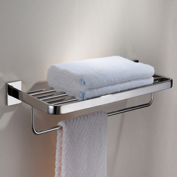 304 stainless steel bathroom square double towel rail with for Double towel rails for bathrooms