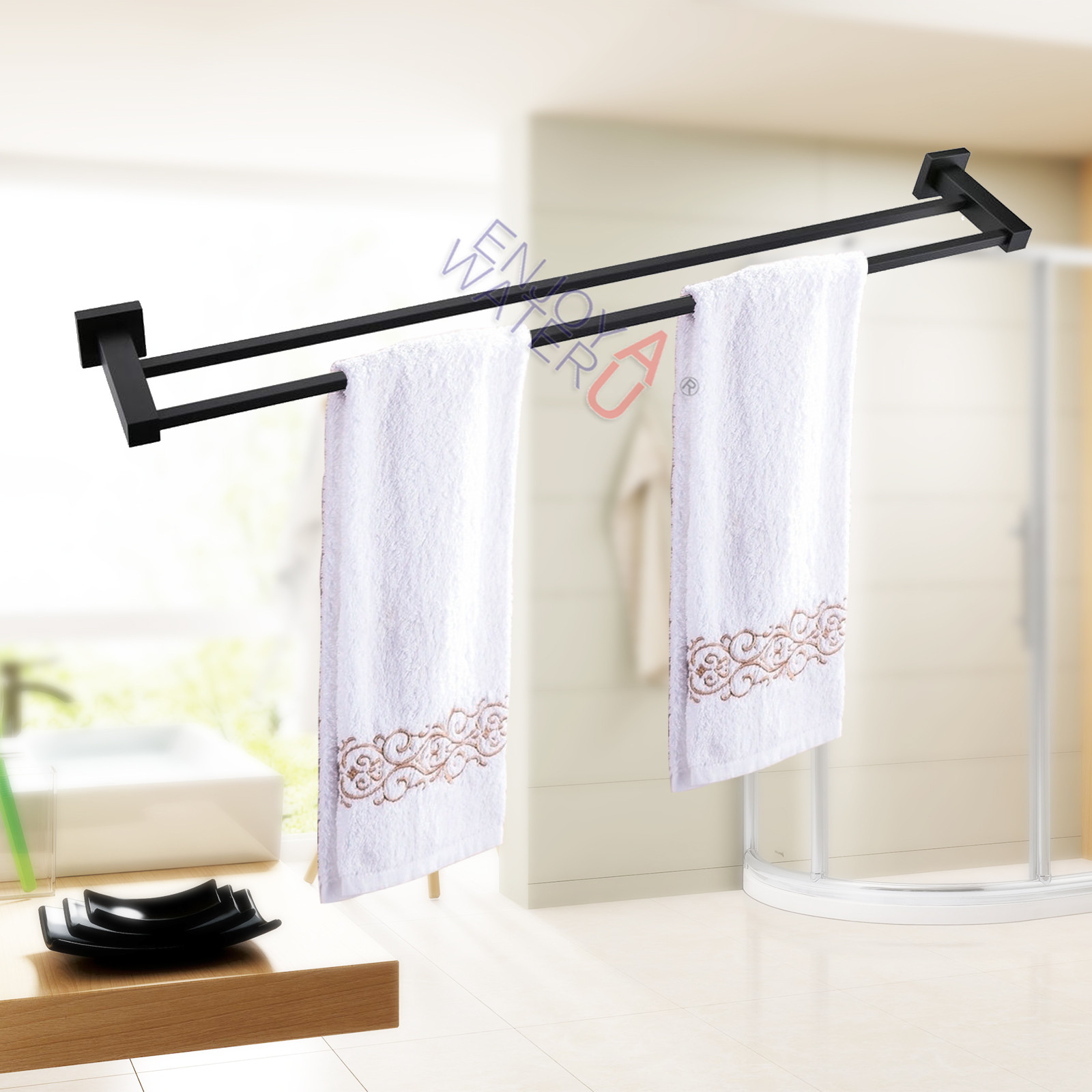 600mm double towel rail rack holder stainless steel 304 for Double towel rails for bathrooms