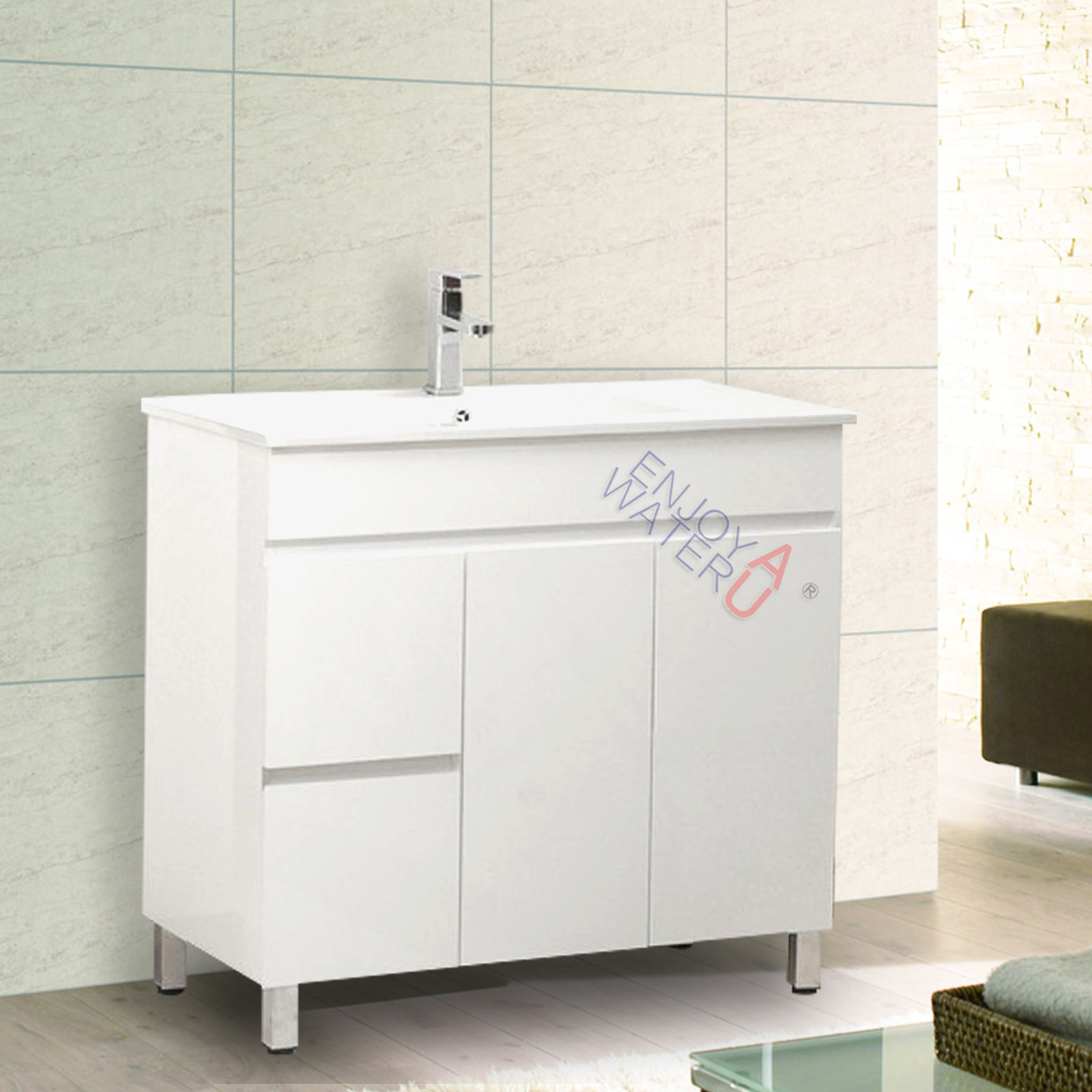 900mm bathroom vanity cabinet unit freestanding ceramic for Bathroom cabinets ebay australia