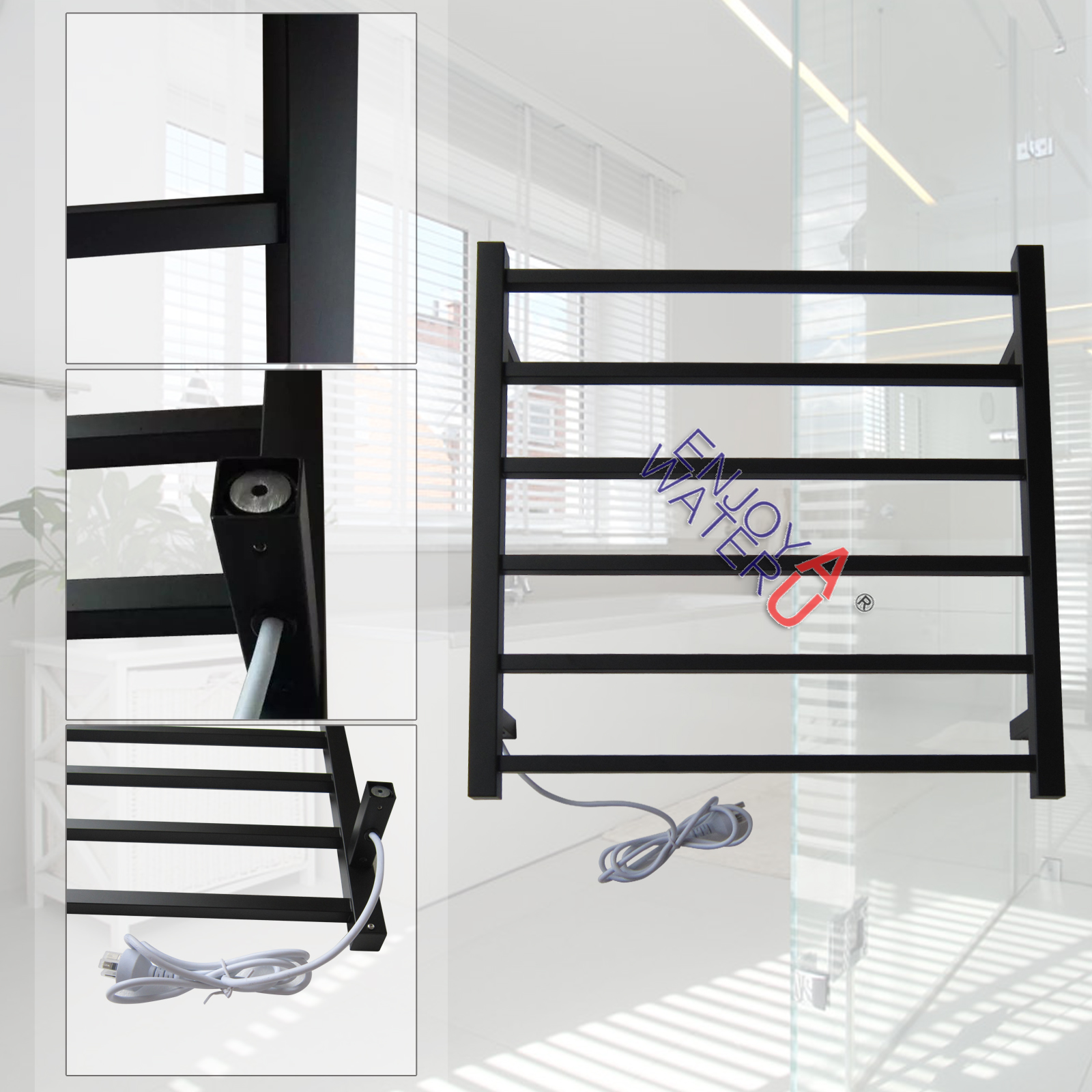 Big Size Stainless Towel Warmer Heated Towel Rack: Gama Bath Square Electric Heated Towel Rack Warmer Rail 6