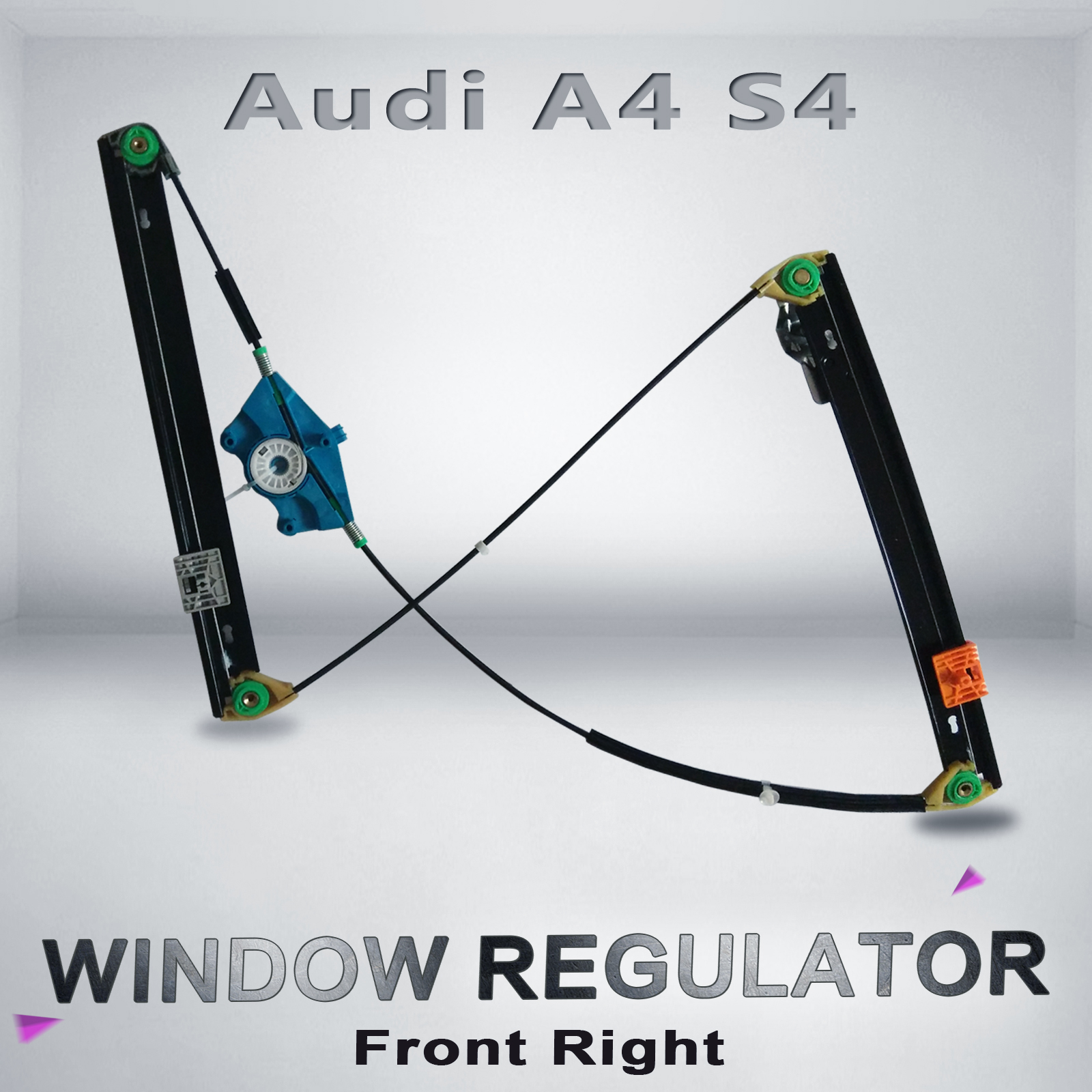Window regulator audi a4 s4 power front right hand driver for 2003 audi a4 window regulator replacement