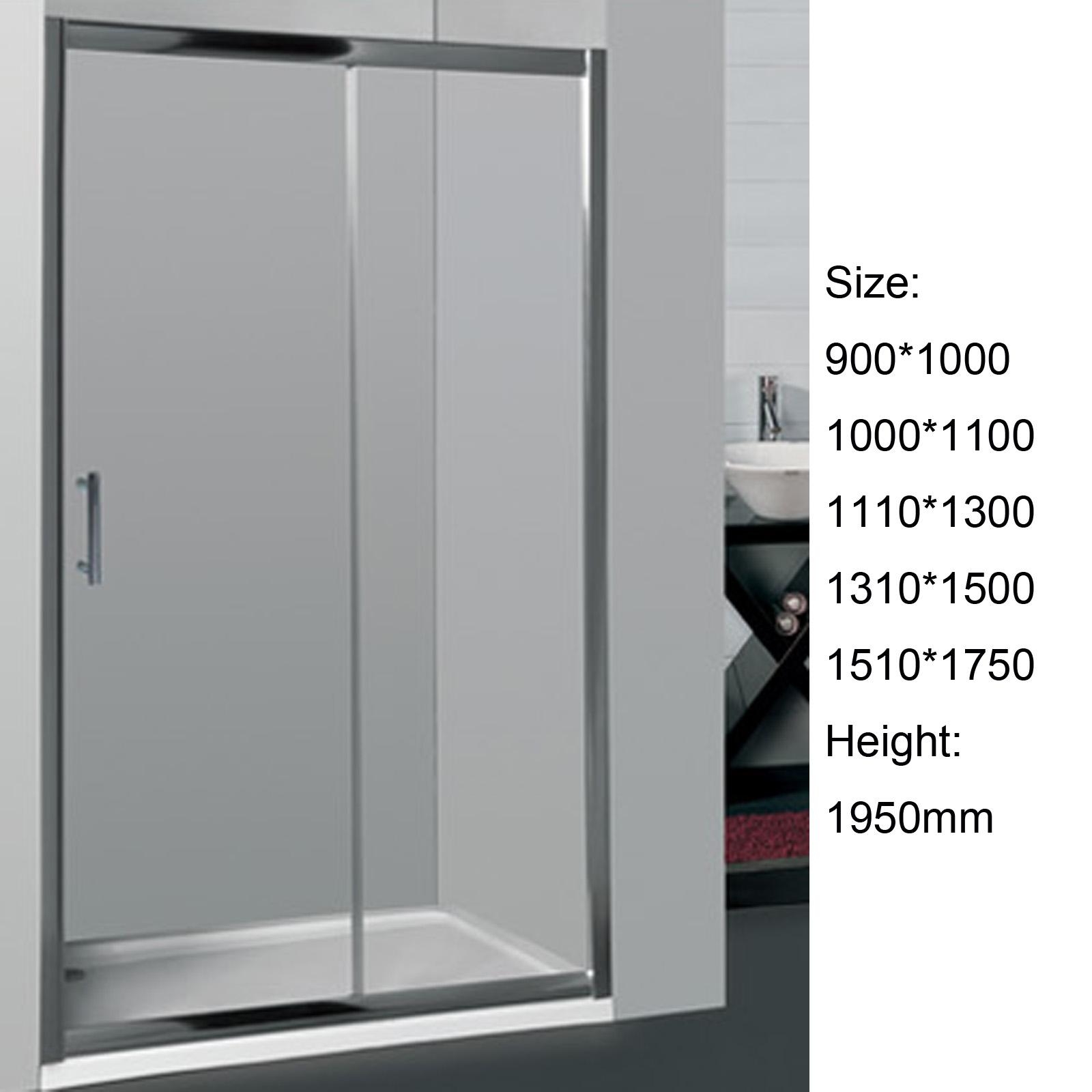 Adjustable 6mm sliding door framed shower screen wall to for 1750 high shower door