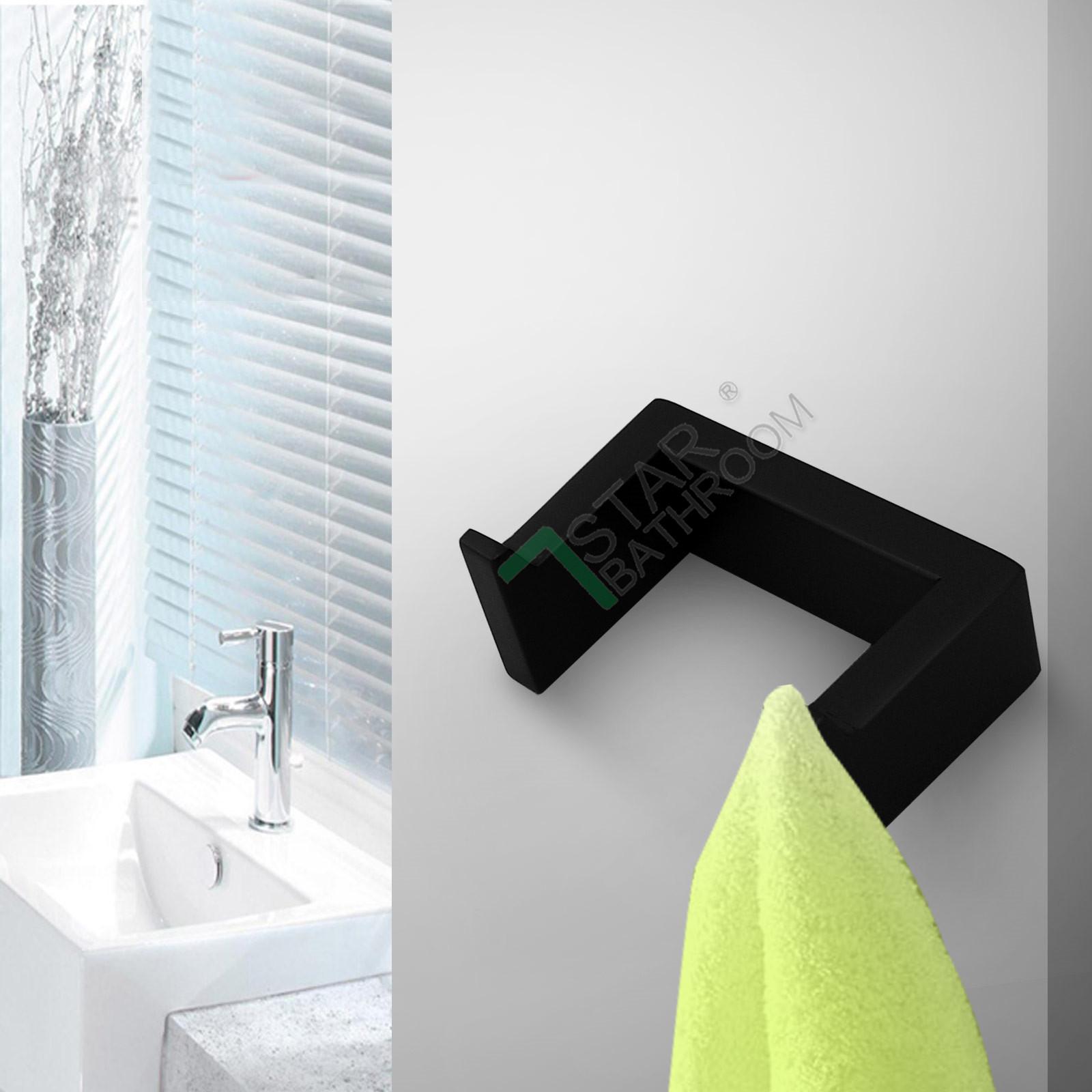 Black Double Wall Hook Towel Robe Rack Rail Stainless 304