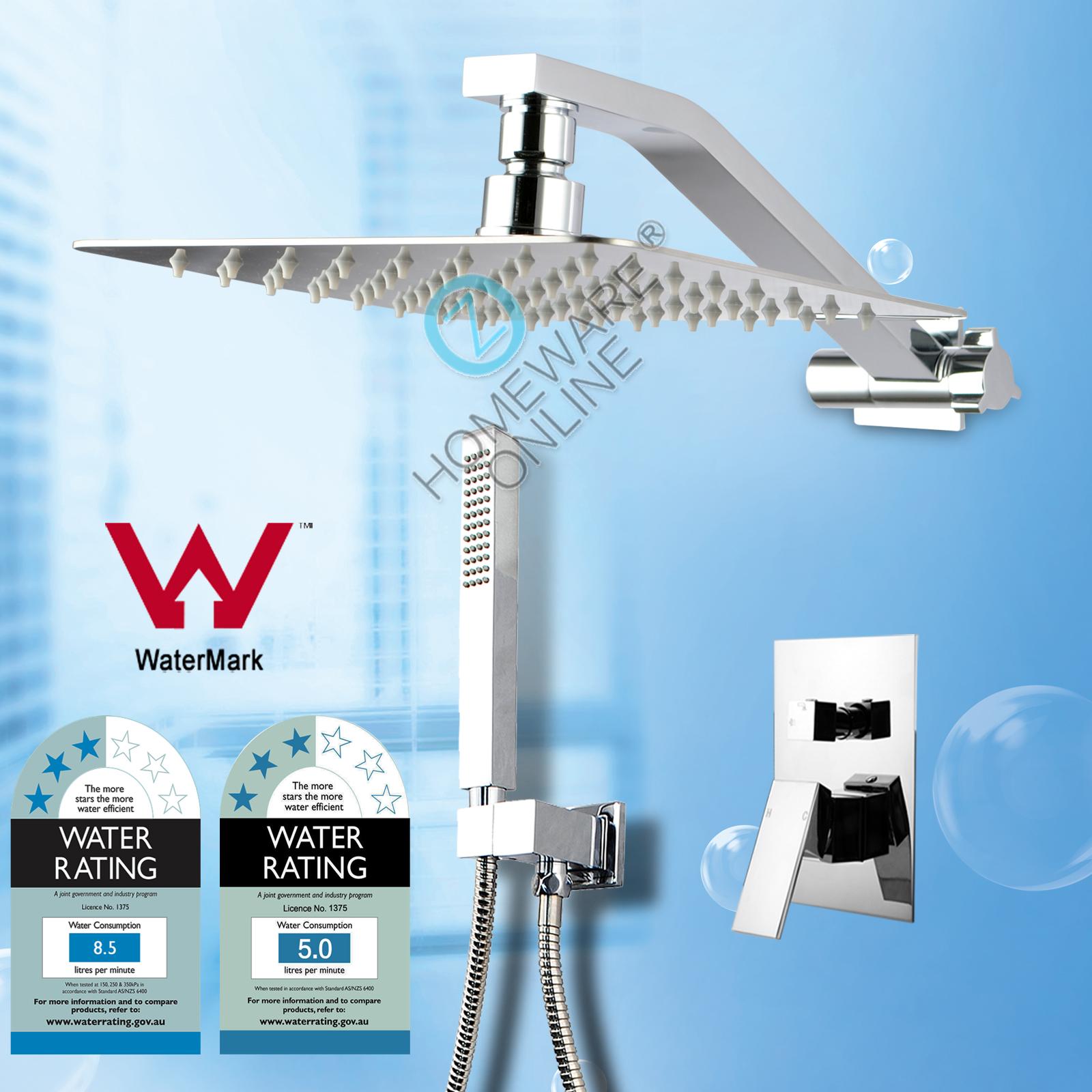 Bathroom Square Shower Head Handheld Set Adjustable Wall Arm Mixer ...
