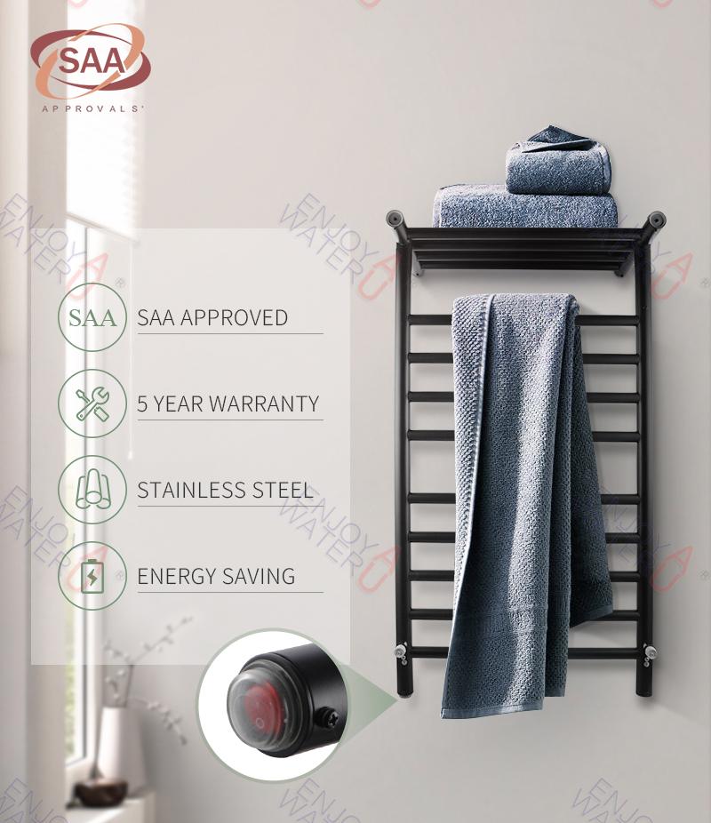 14 Rung Electric Heated Towel Rail: Black Round Electric Heated Towel Rack Warmer Rail 14 Bar